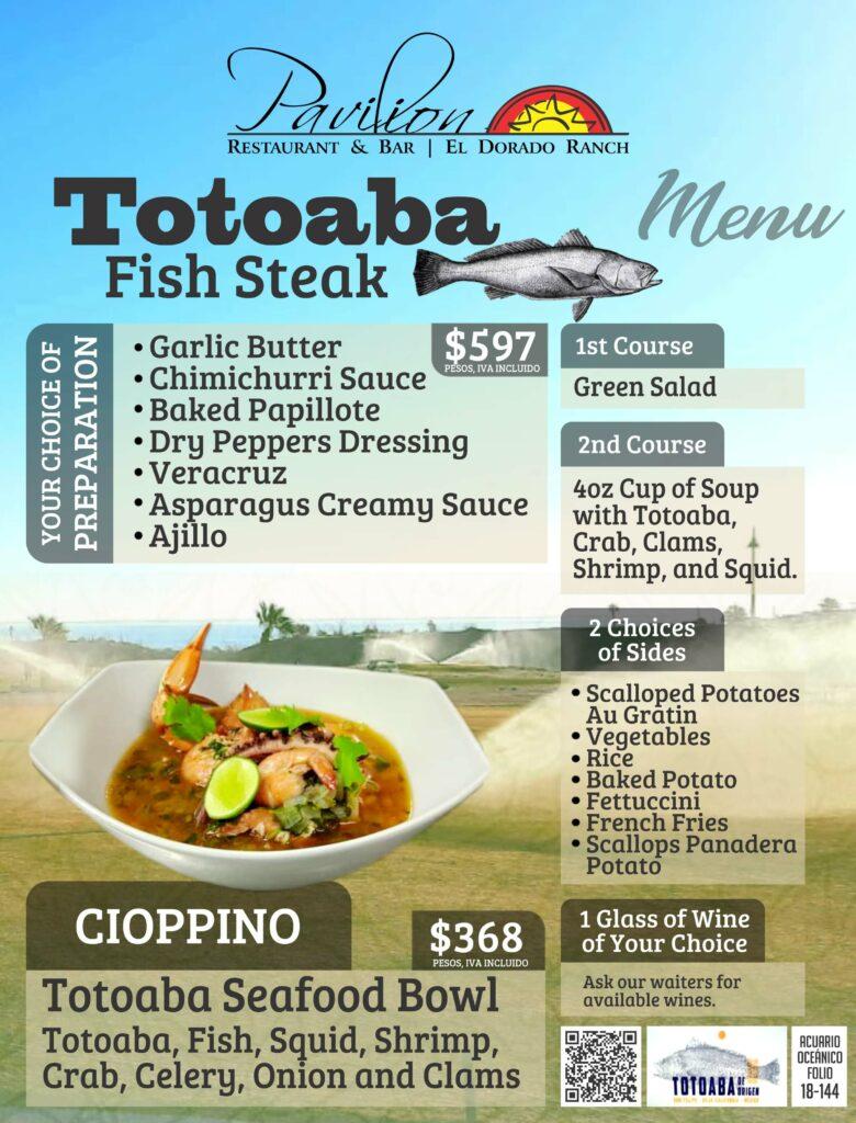 totoaba menu